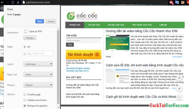 Hình 2 - Hướng dẫn cách in trang web với trình duyệt Cốc Cốc