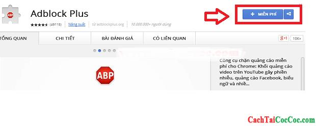 Hình 2 - Chi tiết cách chặn quảng cáo trên trình duyệt web Cốc Cốc