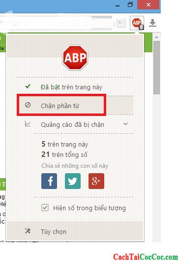 Hình 9 - Chi tiết cách chặn quảng cáo trên trình duyệt web Cốc Cốc